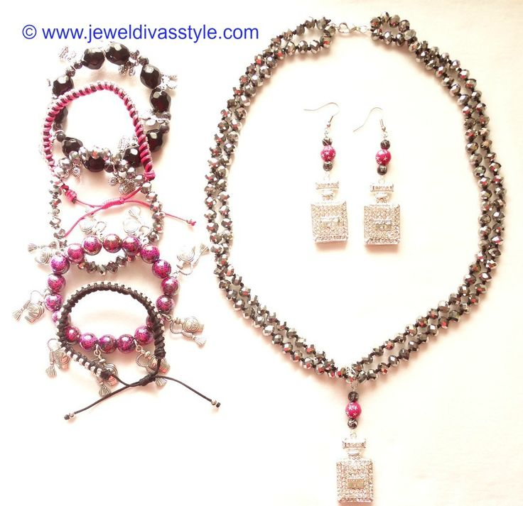 JDS - JEWEL DIVAS PINK PERFUME BOTTLE JEWELLERY SET - http://jeweldivasstyle.com/accessory-style-awesome-jewels-made-for-awesome-clothes/