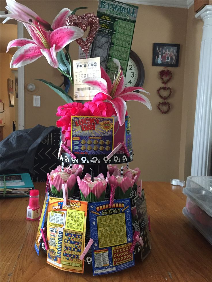 Made this cupcake/lottery tower for my mother in laws birthday