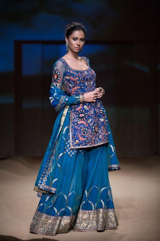 Ashima Leena royal blue sharara lehnga. More here: http://www.indianweddingsite.com/bmw-india-bridal-fashion-week-ibfw-2014-ashima-leena/