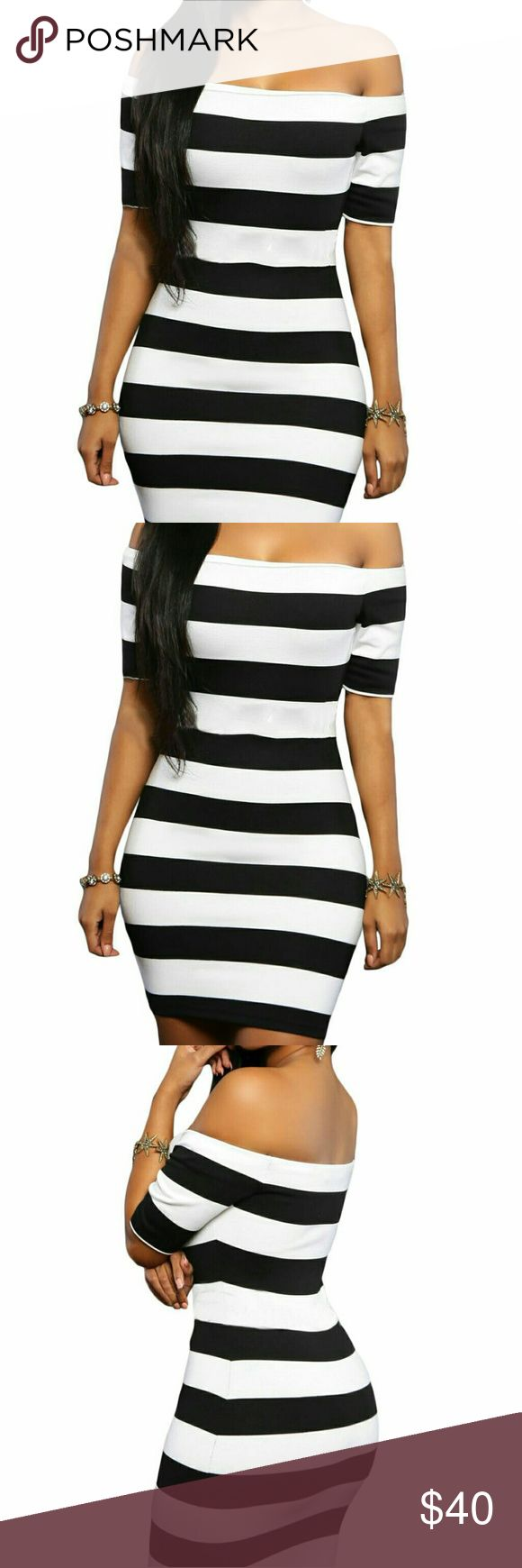 Striped Mini Dress Make a bold statement in this sexy mini dress featuring off shoulder design, contrasting stripes and half sleeves. Cut at ultrashort length in curve-hugging fit. This is made of stretchy poly blend, so has lots of give but always accentuating the figure! This dress is perfect for that dressy occasion.  B-40 Dresses Mini