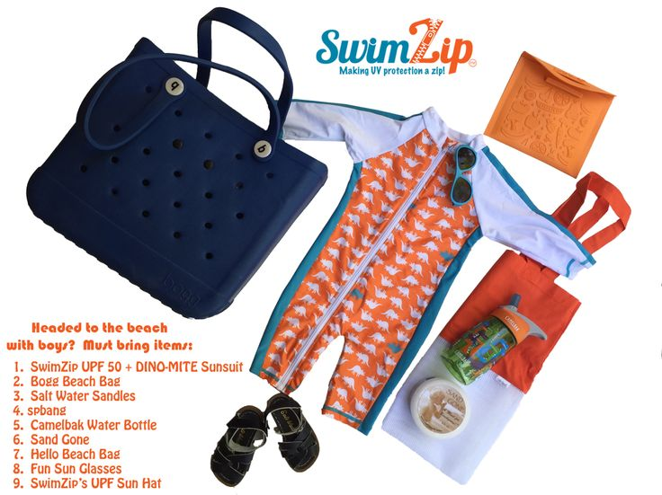 SwimZips DINO-MITE romper!  Here are our essentials for heading to the beach with our little boys!