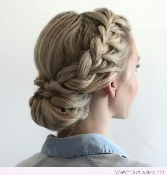Low bun, braid and a nice blonde hair color