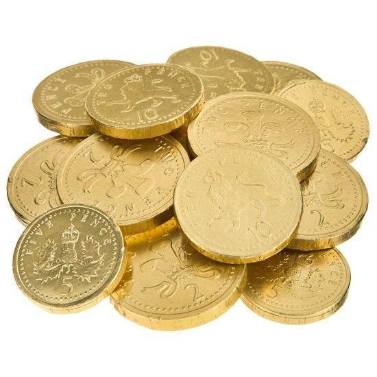 Gold Milk Chocolate coins from Poundland, wedding favours