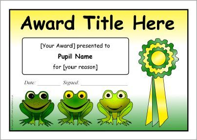 Editable frog-themed certificate templates (SB9877) - SparkleBox