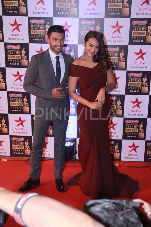 Ranveer Singh and Sonakshi Sinha at the Star Screen Awards 2016.