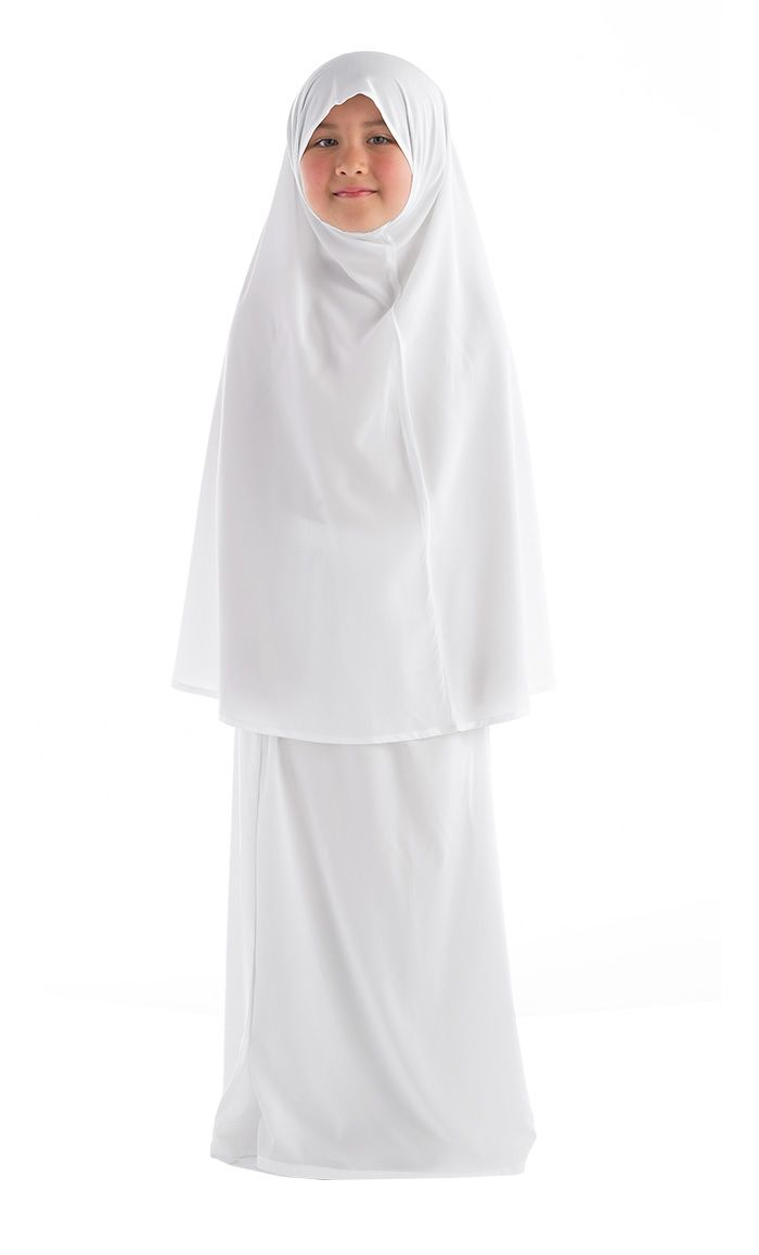 Girls Prayer Outfit. Fabric: Poly Crepe. Includes two pieces: long overhead hijab reaches waist level. Girls Prayer skirt has an elastic waistband. Prayer outfit is meant to be worn over clothing for purpose of modesty during prayer.