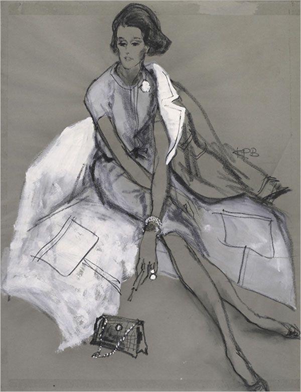 white on dark.Babes Paley, Fashion Sketches, Vintage Fashion, Kenneth Paul, 1960S Fashion, Fashion Art, Fashionillustration, Paul Block, Fashion Illustrations
