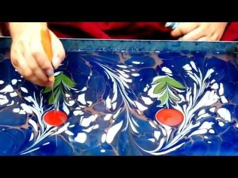 How to Paint on Water as Paper Marbling with Ebru Art - YouTube