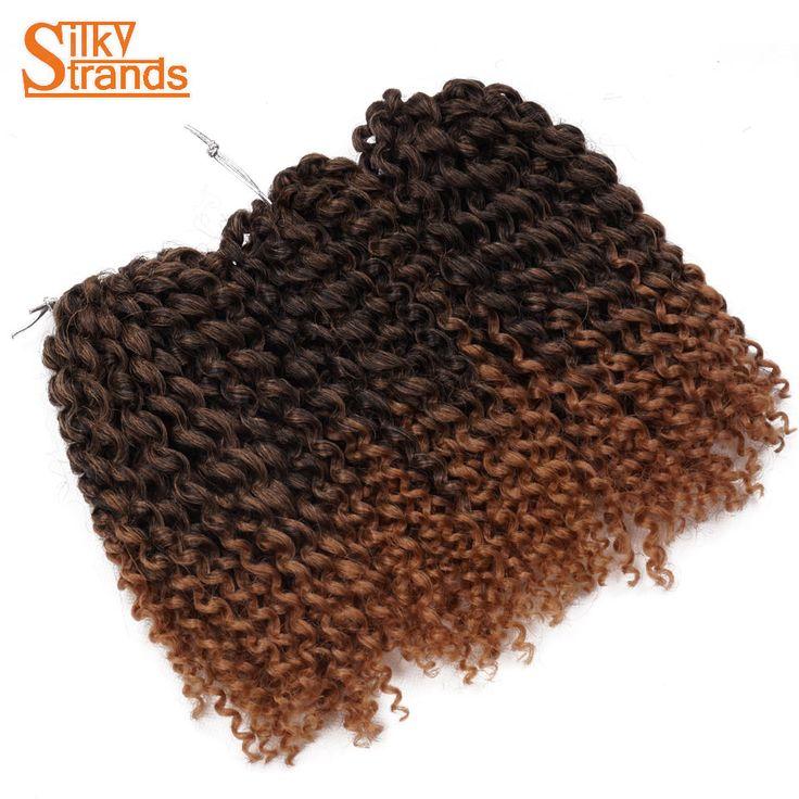Silky Strands 8'' 90g Short Curly Crochet Braids Ombre Marlybob Crochet Hair Styles Afro Kinky Yaki Hair Low Temperature Fiber #Affiliate
