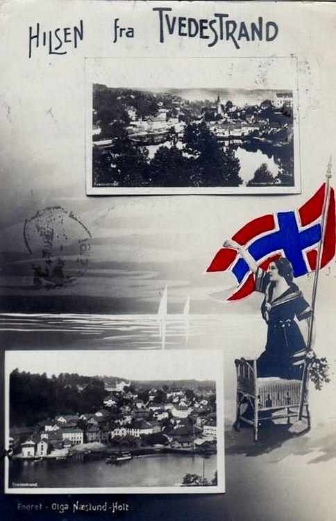 Hilsen fra Tvedestrand. Aust-Agder fylke. Stemplet 1913. Foto: Olga Næslund-Holt