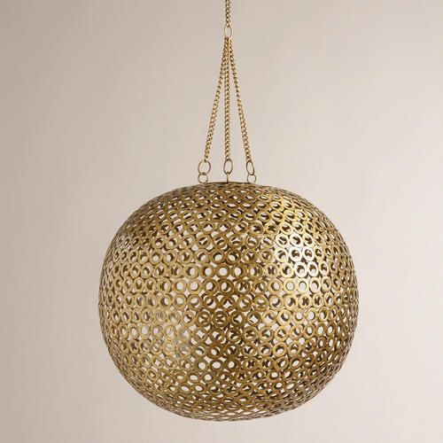 Brass Disc Hanging Pendant Lamp from Cost Plus World Market's New Woodland Retreat Collection >> #WorldMarket Home Decor Ideas
