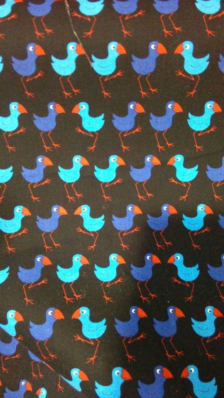 Nz fish species tea towel 12 00 the seafood new zealand tea towel - Pukeko Kiwiana Fabric