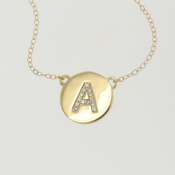 Katie Holmes DIAMOND Initial Necklace  Your by classicdesigns