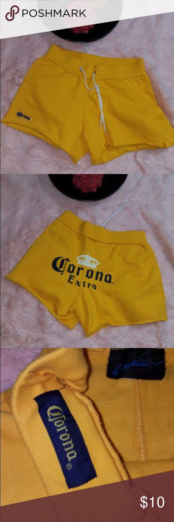 Corana Size Large Yellow Short Shorts Corona beer yellow shorts corona Shorts