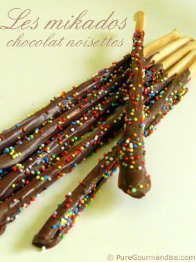 Mikados chocolat noisettes > Recette