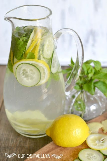 Sassy Water: 2 l water add 1 medium cucumber, peeled and thinly sliced, 1 lemon, thinly sliced, 1 teaspoon freshly grated ginger and around 10 spearmint leaves.  leave in the fridge for a few hours or overnight and in the morning you'll have a cold and really refreshing drink.