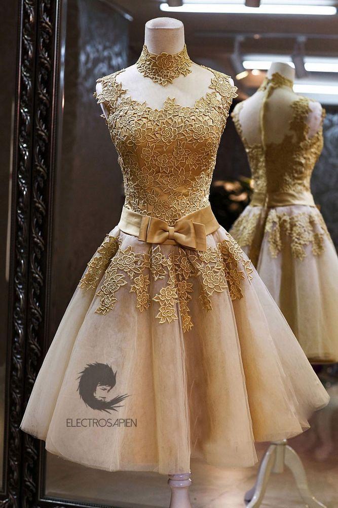 Gold Victorian Lolita Roaring 20s Gatsby Formal Prom Bridesmaid Wedding Dress 6