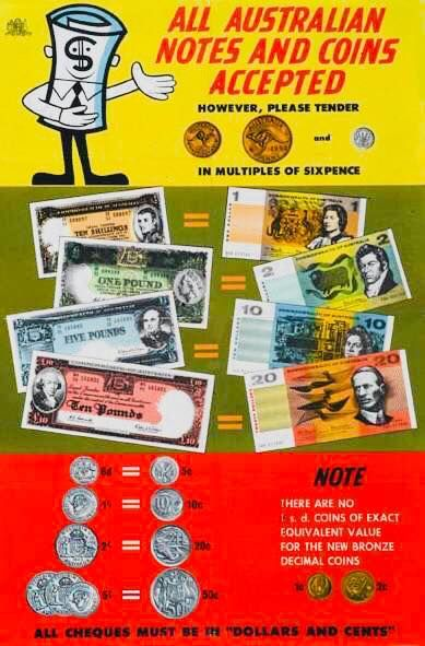 Decimal Currency, 14 February 1966 - Television advertisement ➡️ https://www.youtube.com/watch?v=Y6JawKH2yaQ  Image showing a brochure explaining the conversion of pounds, shillings and pence into dollars and cents — in Mortdale, New South Wales, Australia.