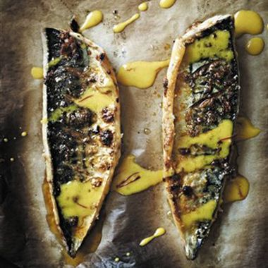 Roasted Mackerel with Garlic and Paprika Recipe  at Epicurious.com