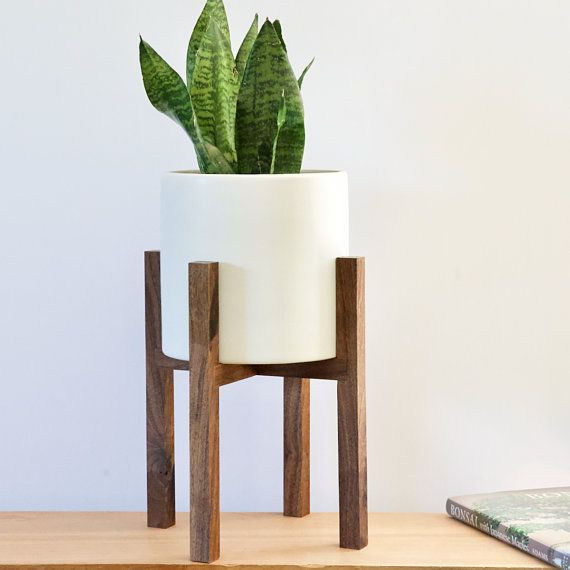 Small Mid Century Modern Plant Stand With Pot Mid Century Mid