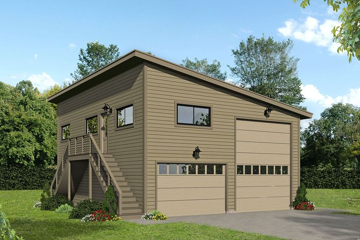 Plan 68670vr Rv Garage Plan Loft Accessible By External Stairs Garage House Plans Rv Garage Plans Garage Plans With Loft Modern house plan with rv garage