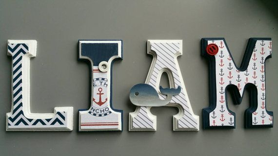 Letras de pared en madera náutica tema marinero por MissiCreation