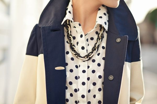 polka dotsFashion, Style, Polka Dots Blouses, Jackets, Black White, Southern Charm, Glitter Guide, Trench Coats, Mixed Pattern