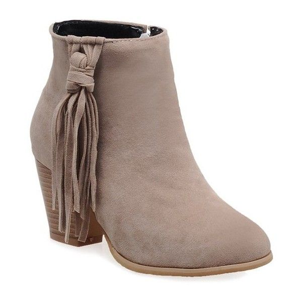 Tassels Suede Ankle Boots (805 UAH) ❤ liked on Polyvore featuring shoes, boots, ankle booties, thick heel ankle boots, thick heel boots, tassel boots, chunky heel boots and chunky heel ankle booties