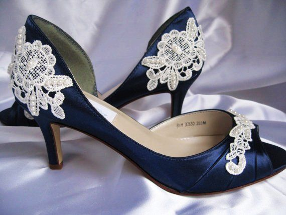 Navy Blue Wedding Shoes | Wedding Shoes With Lace and Pearls Navy Blue - Over 100 Colors And ...