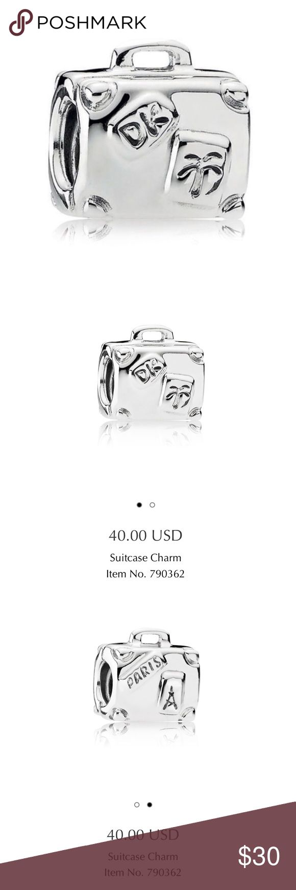 PANDORA Authentic Suitcase Sterling Silver Charm Authentic Pandora Suitcase Charm! Sterling Silver. Used in a pandora bracelet and worn several times but cleaned recently with an authentic pandora cleaning cloth. Like new condition. Perfect for a traveler! Let me know if you have any questions prior to purchase! 💕🤗 Pandora Jewelry Bracelets
