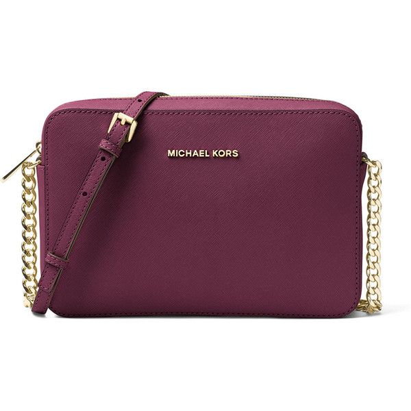 MICHAEL Michael Kors Jet Set Travel Large Crossbody Bag ($175) ❤ liked on Polyvore featuring bags, handbags, shoulder bags, plum, chain crossbody, chain purse, cross body travel purse, purple handbags and travel handbags