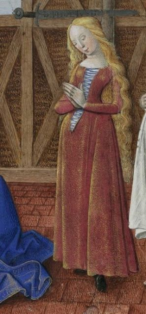 Front laced kirtle, 15th century - Mortifiement de Vaine Plaisance (1470, Ms 151)