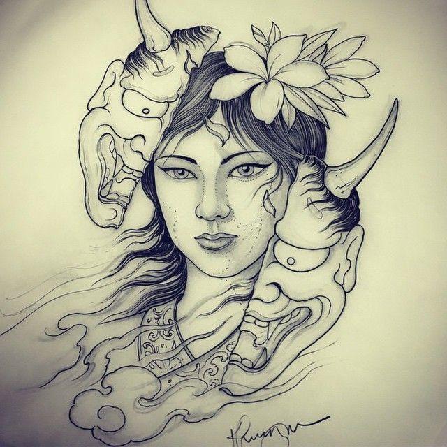 Hannya Mask Girl Tattoo: Woman Hannya Done By @khuong_daruma #japanesetattoo