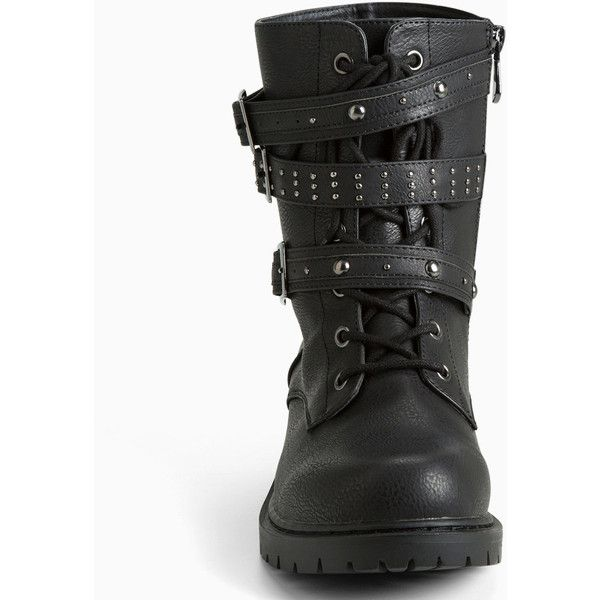 Torrid Studded Strappy Combat Boots (Wide Width) ($52) ❤ liked on Polyvore featuring shoes, boots, black boots, studded combat boots, combat boots, lace up combat boots and army combat boots