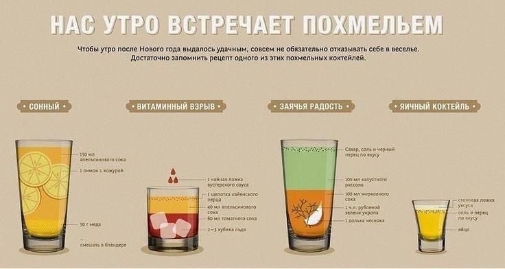 ёщё: (1) Хайбол. Томатный сок 150-200. Табаско. Хрен. Соль. Зелень типа кинзы, мелко. Для эстетов - вустерский соус ))) Размешать. Сверху - сырое яйцо. Черный перец, желательно - из мельнички. Водка ~50. Всю эту многослойную композицию - залпом или быстрыми глотками. баиньки ))) (2) яичница + 2 таблетки аспирина 200 и полежать