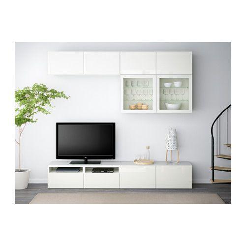 BESTÅ Combinaison rangt TV/vitrines - blanc/Selsviken brillant/blanc verre transparent, glissière tiroir, ouv par pression - IKEA