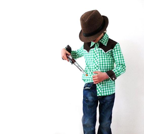 stoere cowboy hemden voor kleine en grote door kaufdeinglueck, €39.95