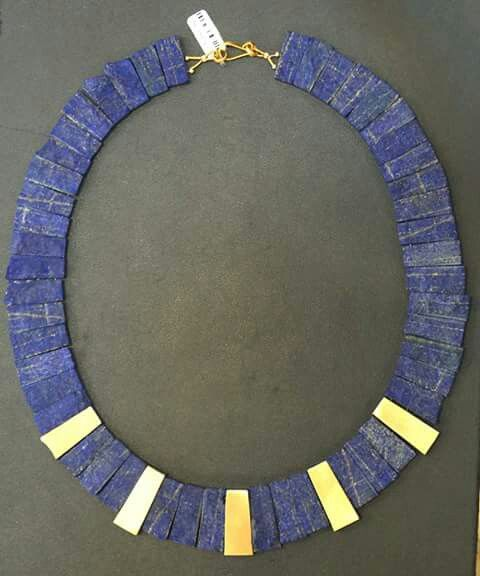 18 k gold with Lapis Lazuli necklace!!
