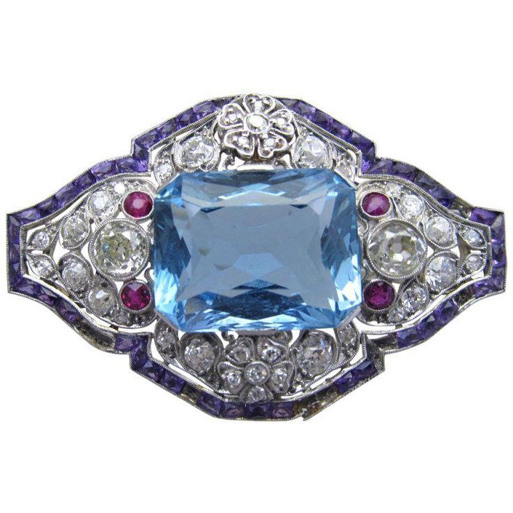Art Deco Aquamarine Diamond Brooch Circa 1930s | 1stdibs.com