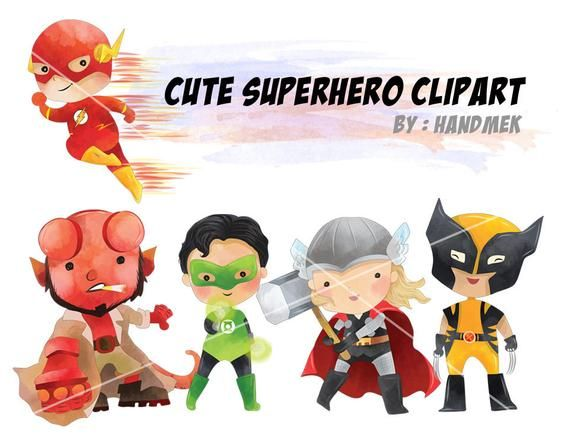 Lindo Superheroe Clipart Set 2 Png File 300 Dpi Etsy Superhero Clipart Clip Art Cute Clipart