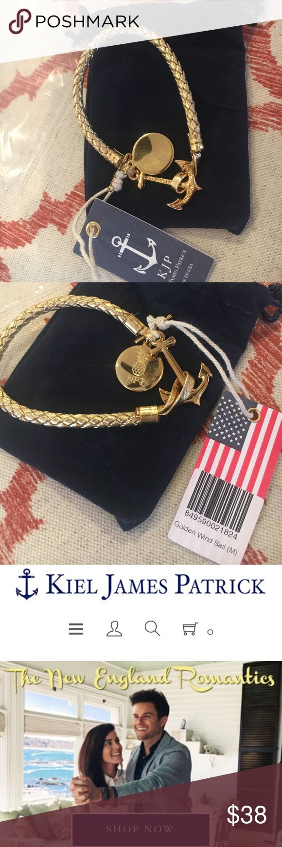 "NEW! Kiel James Patrick gold anchor bracelet NEW w/TAG! never worn. Gold metallic weave w/medallion (can be removed with pliers if you don't want that on the bracelet). Handmade locally in Rhode Island. Size medium (fits ~7.5"" wrist). Velvet drawstring bag can also be used to polish medallion. Kiel James Patrick Jewelry Bracelets"