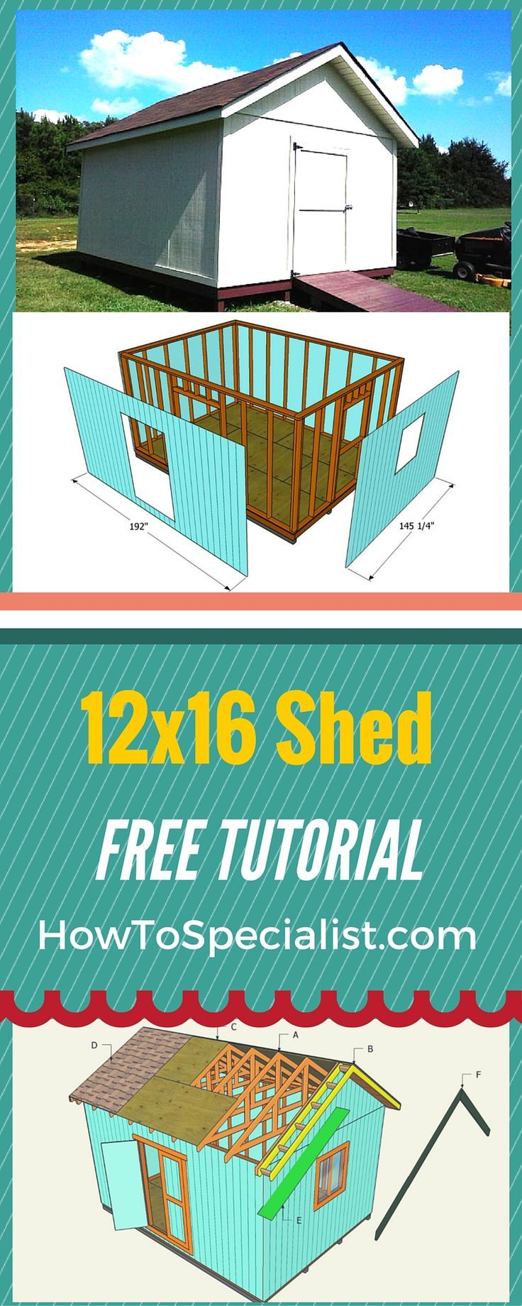 How to build a 12x16 shed - Easy to follow free shed plans and instructions for you to create storage space in your garden for tools and furniture! http://www.howtospecialist.com #diy #shed #storage