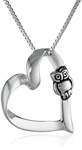 "Sterling Silver Owl and Heart Pendant Necklace, 18"" - http://www.rekomande.com/sterling-silver-owl-and-heart-pendant-necklace-18/"