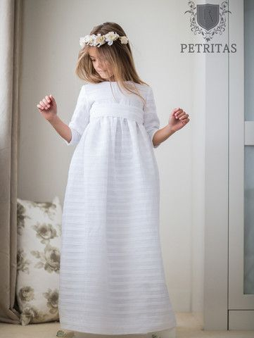 Classic White Empire Communion Dress with Matching Back Sash