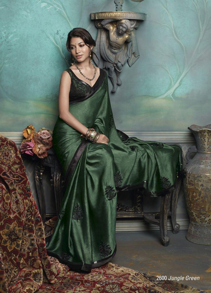 Satin Chiffon Material saree in dark green color with beautiful plain black color border patta