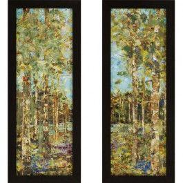 Textured Bright Landscape Artwork. Deluxe Framed Print. Set of 2, 15x39