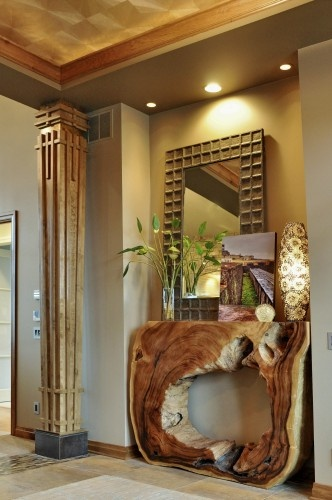 eclectic entry by Coffey & Co. House of Interiors What a console!