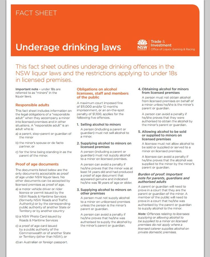 Underage drinking laws in NSW - factsheet - Office of Liquor, Gaming and Racing