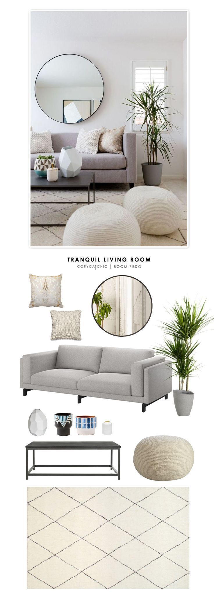 TOTAL | $2,041    SOFA $799 | RUG $262 | COFFEE TABLE $174 OR HERE $90 | WOOL POUFS $129 (EA) | MIRROR $160 | KNIT THROW PILLOW $50 (EA) | METALLIC COW HIDE PILLOW $55 | DRACAENA PLANT $10 | PATTERNED