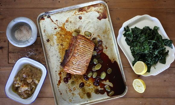 Berkshire Pork Loin with Cavolo Nero, Verjuice and Grapes with Granny Smith Sauce - Maggie Beer